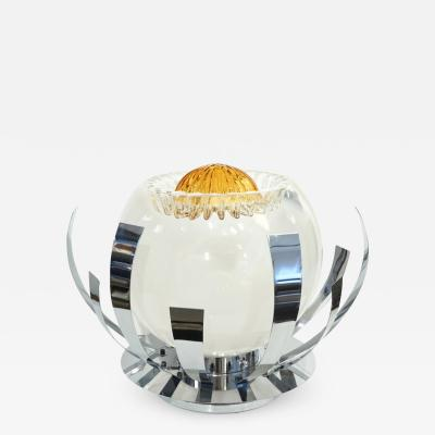 Mazzega Murano Mazzega 1960s Nickel White Amber Murano Art Glass Flower Desk Table Lamp