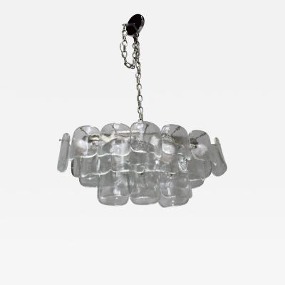 Mazzega Murano Mazzega Clear Glass And Chrome Oval Chandelier