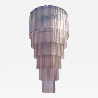 Mazzega Murano Mazzega Clear and Amethyst Murano Glass Cascading Planks Chandelier
