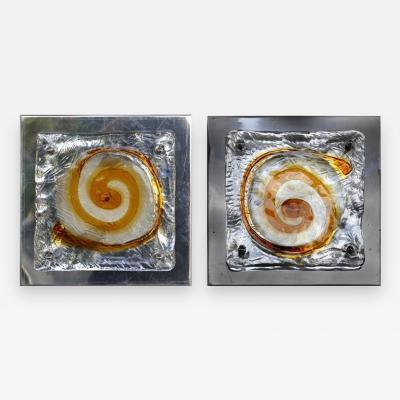 Mazzega Murano Mazzega Midcentury Blown Glass and Metal Sconces a Pair