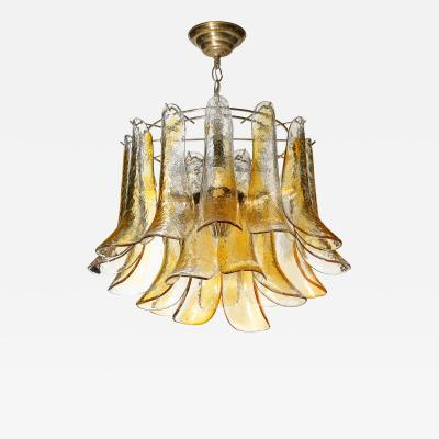 Mazzega Murano Mid Century Handblown Murano Amber Glass Brass Feather Chandelier by Mazzega