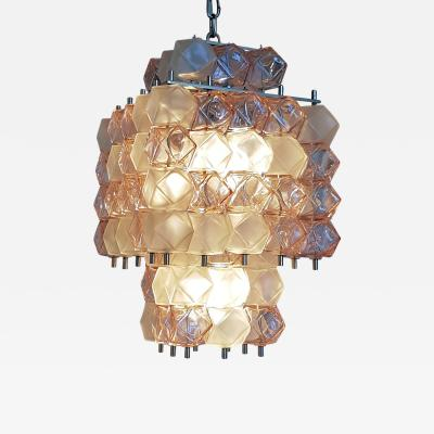 Mazzega Murano Mid Century Modern Cubic Pink Transparent Murano Glass Chandelier