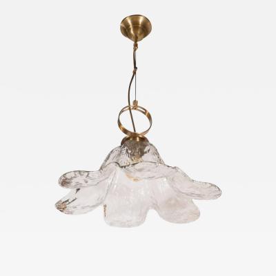 Mazzega Murano Mid Century Modern Handblown Murano Glass and Brass Flower Pendant by Mazzega