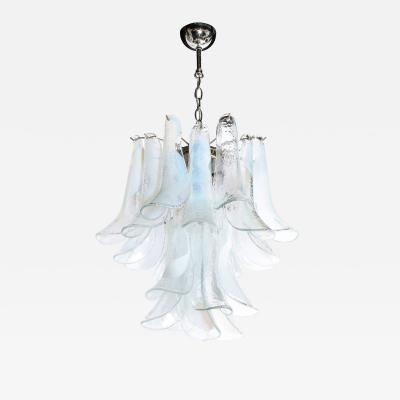 Mazzega Murano Mid Century Murano Opalescent Glass Chrome Feather Chandelier by Mazzega