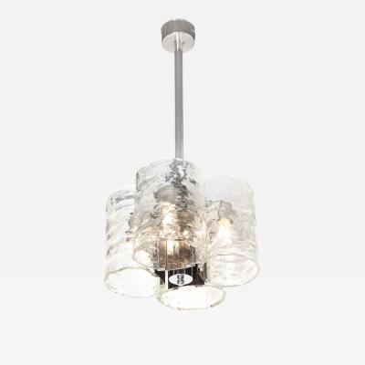Mazzega Murano Mid Century Organic Polished Chrome Smoked Murano Glass Chandelier by Mazzega