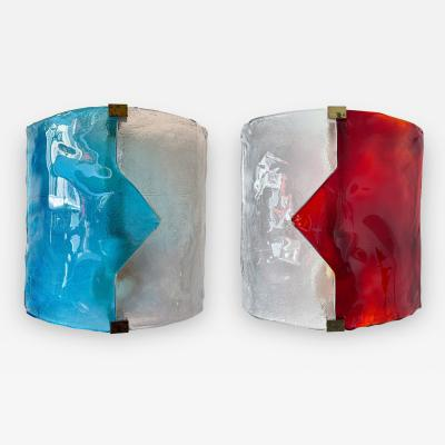 Mazzega Murano Pair of Blue and Red Murano Glass Arrow Sconces by Mazzega Itay 1970s