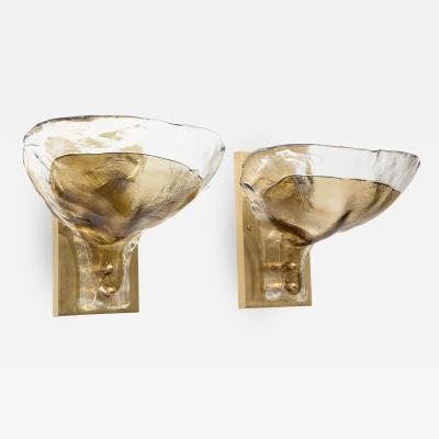 Mazzega Murano Pair of Clear and Tobacco Glass Sconces by Mazzega