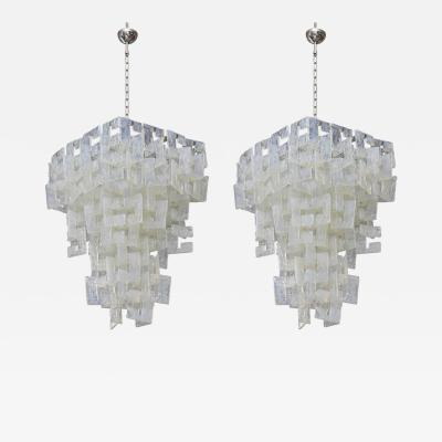Mazzega Murano Pair of Italian Modern Opalescent Glass Chandeliers Mazzega