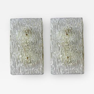 Mazzega Murano Pair of Large Murano Glass Wall Sconces