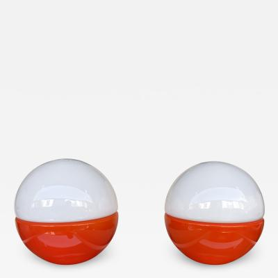 Mazzega Murano Pair of Murano Glass Ball Lamps by Mazzega Italy 1970s