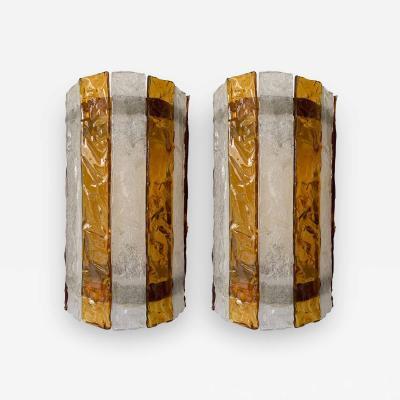 Mazzega Murano Pair of Murano Glass Sconces by Mazzega Italy circa 1970s