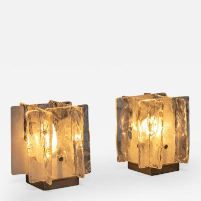 Mazzega Murano Pair of Murano Glass Table Lamps by Mazzega