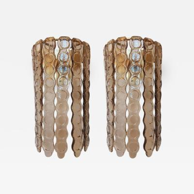 Mazzega Murano Pair of Murano Tan color Glass Sconces Mazzega Style Mid Century Modern 1970s