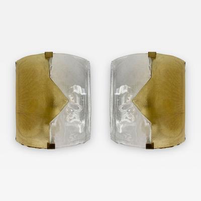 Mazzega Murano Pair of Yellow Murano Glass Arrow Sconces by Mazzega Itay 1970s