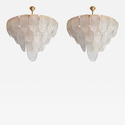 Mazzega Murano Pair of large Mid Century Modern Murano glass chandeliers flushmounts by Mazzega