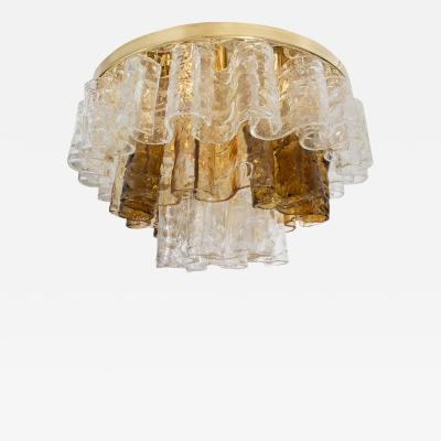 Mazzega Murano SCROLLED MURANO GLASS ELEMENT FLUSH MOUNT FIXTURE by Mazzega