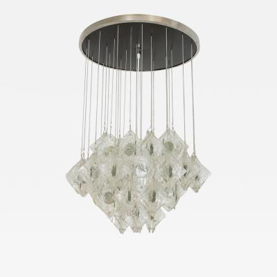 Mazzega Murano SUSPENDED GLASS ELEMENT FLUSH MOUNT FIXTURE