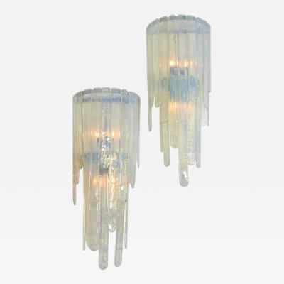 Mazzega Murano Spectacular Pair of Large Cascading Mazzega Sconces
