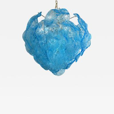 Mazzega Murano Vintage Italian Chandelier w hand blown aqua blue Murano glass leaves 1960 s