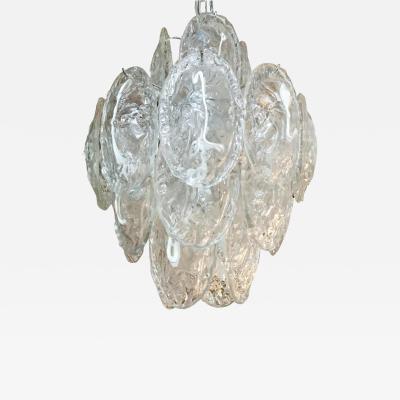 Mazzega Murano Vintage Italian chandelier w Murano glass shells Designed by Mazzega c 1960s