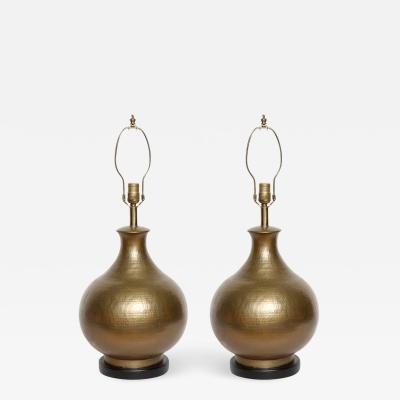 McGuire Furniture Hammered Bronze Lamps