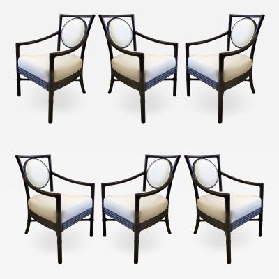 McGuire Furniture McGuire Rattan Dining Chairs with Leather Bindings in Linen Upholstery Set of 6