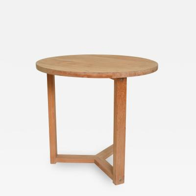 McGuire Furniture McGuire Simple Teak Round Side Table Triangular Base California 1990s