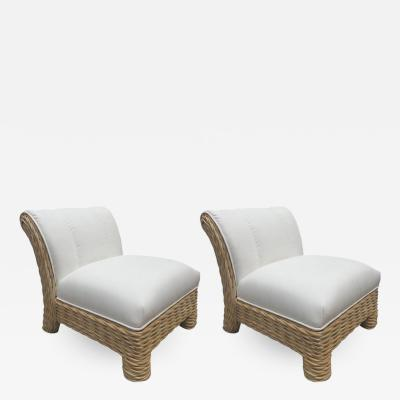 McGuire Furniture Pair of McGuire Rattan Wicker Weaved Club Chairs