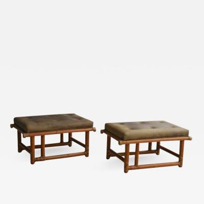 McGuire Furniture Pair of Vintage McGuire Benches or Stools