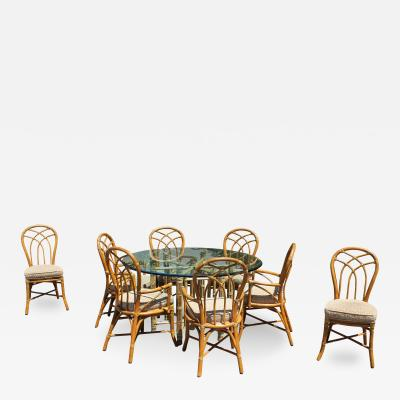 McGuire Gorgeous McGuire Dining Set Bamboo Rattan Brass Signed Table and Eight Chairs