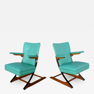 McKay Furniture Corp Turquoise vinyl faux leather spring rockers style of mckay furniture