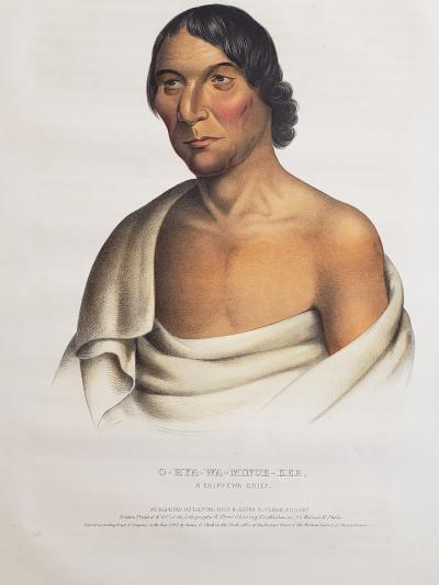 McKenney Hall Yellow Thunder a Chippewa Chief Lithograph Portrait by McKenney Hall