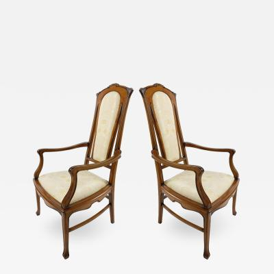 Medea Hand Carved Art Nouveau Style Armchairs from Medea Pair