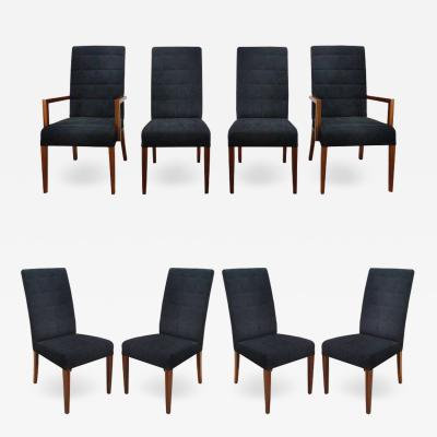 Medea Rosewood and Suede Dining Chairs by Medea Italy Set of Eight