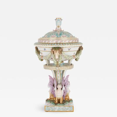 Meissen Antique painted and parcel gilt porcelain vase by Meissen