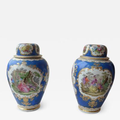 Meissen Large Pair of Continental Meissen Style Augustus Rex Porcelain Vases