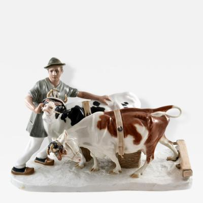 Meissen Meissen Porcelain Figural Group Farmer and Cows