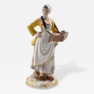 Meissen Meissen Porcelain Figurine Girl with a Basket of Baked Pretzels