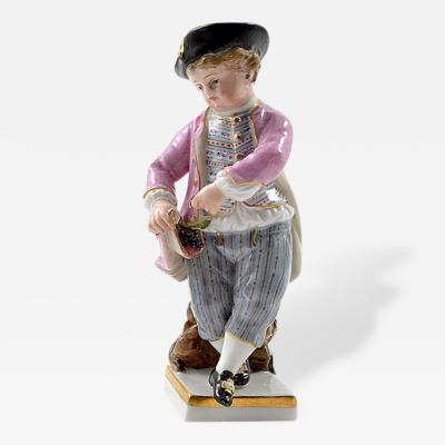 Meissen Meissen Porcelain Figurine of a Boy with Grapes