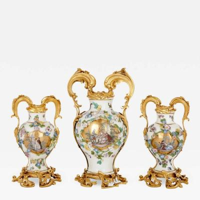 Meissen Meissen porcelain three vase garniture with ormolu mounts