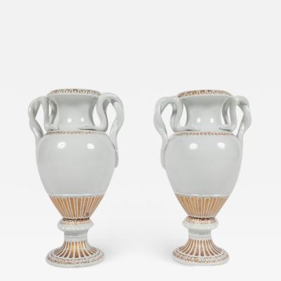 Meissen Pair of Snake Handled Meissen Urns