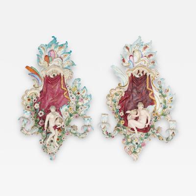 Meissen Pair of porcelain wall sconces by Meissen