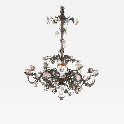 Meissen Porcelain Manufactory Encrusted porcelain floral chandelier in the style of Meissen