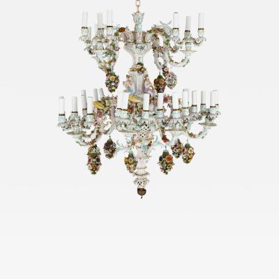 Meissen Porcelain Manufactory Large Rococo style porcelain chandelier by Meissen