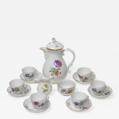 Meissen Porcelain Manufactory Meissen Porcelain Coffee Set for 6 1920s Germany