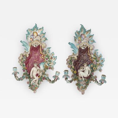 Meissen Porcelain Manufactory Pair of antique porcelain sconces by Meissen