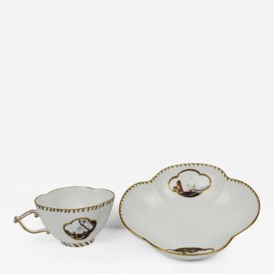 Meissen Porcelain Quatrefoil Cup and Saucer Circa 1735
