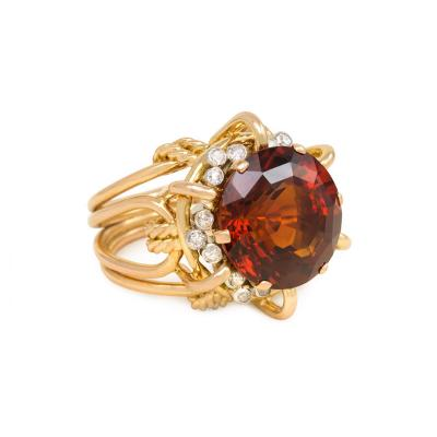 Mellerio dits Meller 1950s Mellerio Gold Madeira Citrine and Diamond Cocktail Ring