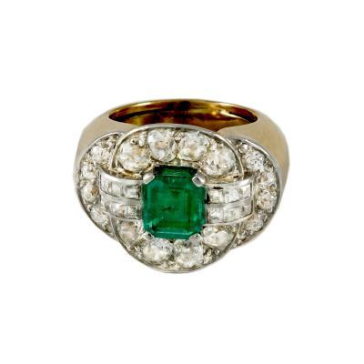 Mellerio dits Meller Art Deco Emerald Diamond Ring