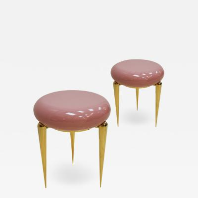 Memphis Group In The Style Memphis Pair Of Pink Lacquered And Brass Coffee Tables Germany